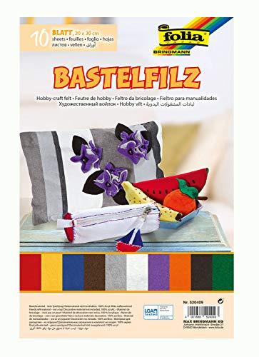 folia 520409 - Bastelfilz, mit feiner Wollqualität, 10 Blatt, 150 g/qm, 20 x 30 cm, sortiert in 10 verschiedenen Farben, klebefleckenfreie Verarbeitung - ideal für vielfältige Bastelarbeiten