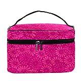 Desheze - Neceser de maquillaje para mujer, cuadrado, multifuncional, portátil, bolsa de almacenamiento, diseño de flores, 8.23 x 15.0 x 13.7 cm