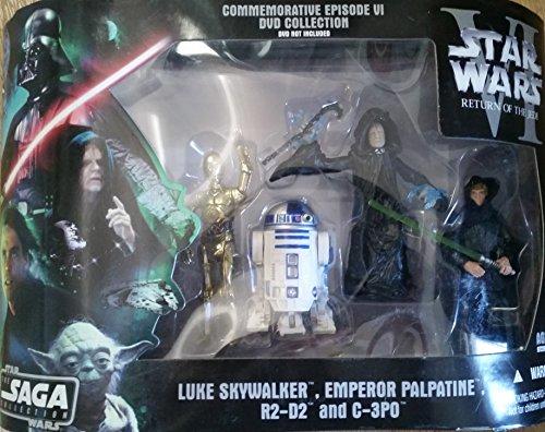 Star Wars DVD Commemorative Action Figure Pack Episode VI (6) Return of the Jedi w/ Luke, C-3PO, R2-D2 & Emperor. RARE