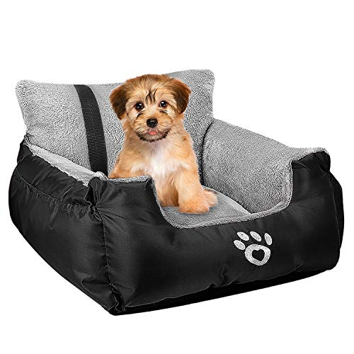 Utotol Pet Car Seat,Puppy Booster Seat Dog Travel Car Carrier Bed with Storage Pocket and Clip-on Safety Leash Removable Washable Cover for Small Dog (Black)