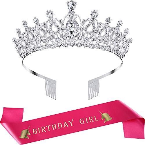 SATINIOR Corona de Cumpleaños Diadema de Adorno de Cristal Diamantes de Imitación Corona de Princesa con Banda de Birthday Girl, Plateado (Rojo Rosado)