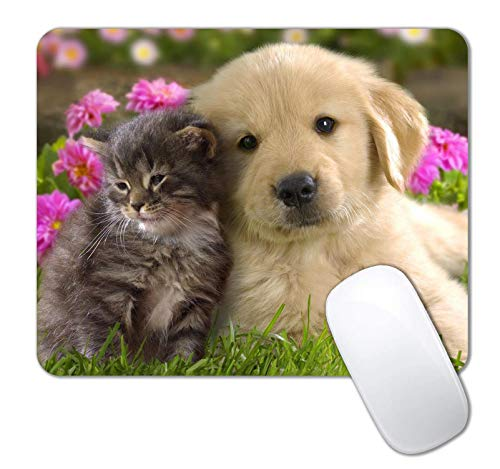 IMAYONDIA Mouse Pad, Golden Retriever Puppy and Kitten Mouse Pad for Kids, Custom Gaming Mouse Pads with Designs for Girls, Portable Women Office Non-Slip Rubber Base Wireless Mouse Pad for Laptop Mat