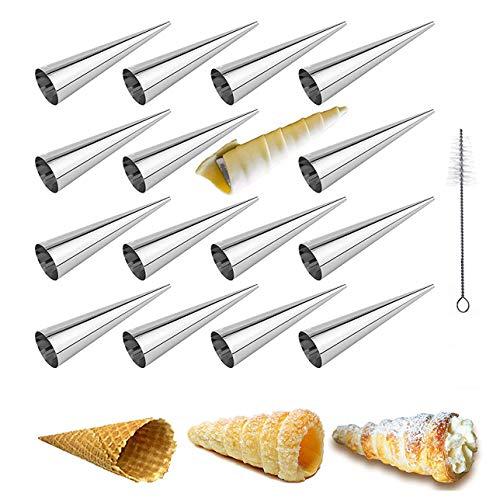 MKNZOME 16 piezas Conos para hornear con cepillo de limpieza Acero inoxidable Pastelería cónica Crema Cuerno Moldes de bobina Croissant Shell Cream Roll Molde para hornear