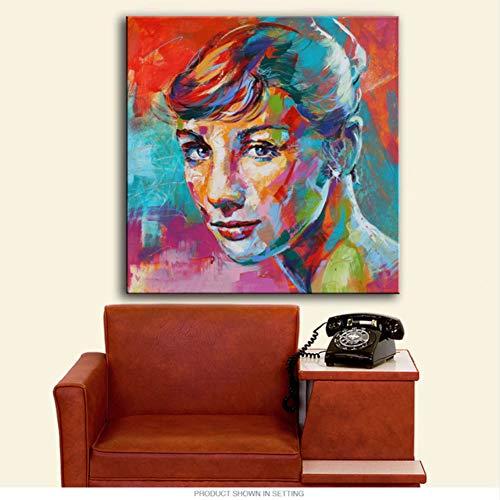SDFSD Pintura Abstracta de Colores Pesados Retrato de Mujer Europea Impresión de Arte de Pared Figura de Lienzo Figura Decoración del hogar de Hepburn para Sala de Estar 40 * 40 cm