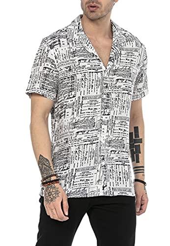Camisa Casual para Hombre de Manga Corta Tejido Ligero Blanco S