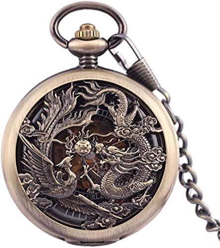 Reloj de Bolsillo Vintage Reloj de Bolsillo mecánico Antiguo para Hombre Lucky Dragon & amp Phoenix Retro Skeleton Dial con Cadena Reloj para Mujer para Hombre