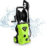 WHOLESUN 3000PSI Electric Pressure Washer 1.8GPM 1600W Power Washer with Hose Reel and Brush Green