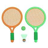 Abaodam - Set di 1 racchette da badminton per bambini, per sport all'aria aperta, set di racchette da tennis e palline per bambini, colore: arancione
