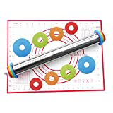 Stainless Steel Adjustable Rolling Pin Removable Rings [Free Silicone Baking Mat as Bonus] for...