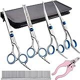 Elfirly - Kit de tijeras profesionales de acero inoxidable para aseo de perros, punta redonda, tijeras curvas, tijeras para adelgazar, peine para cortar el pelo de mascotas para perros y gatos