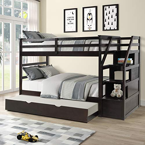 Bunk Beds for Kids, Over Twin Bed with Trundle, Wooden Twin Bed with Drawer and Safety Rail Ladder, Teens Bedroom Bed, Guest Room Furniture (Espresso)