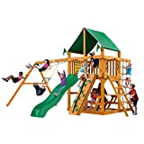 Gorilla Playsets 01-0003-AP-1 Chateau Wood Swing Set with Green Vinyl Canopy, Rock Climbing Wall, Two Swings, Slide, Picnic Table, Sandbox, Amber