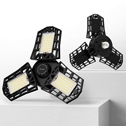 Freelicht 2 Pack LED Garage Light, 60W Ultra-Bright Deformable Garage Light, 6000LM Adjustable Triple LED Light, 6500K Screw in LED Tri Light for Attic, Basement, E26/E27
