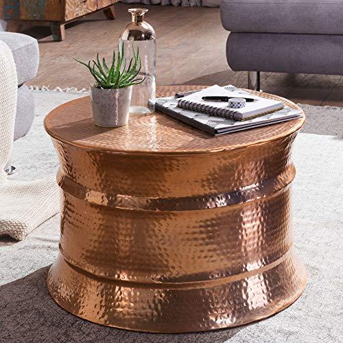 FineBuy Couchtisch KAREM 62 x 41 x 62 cm Aluminium Beistelltisch orientalisch rund | Flacher Hammerschlag Sofatisch Metall | Design Wohnzimmertisch modern | Loungetisch indisch
