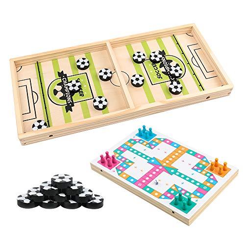 Gobesty Brettspiel Hockey Katapult, Fussball Hockey Holzspiel, 2 in 1 Tisch Slingshot Brettspiel, Bouncing Chess Hockey Spiel, Tragbares Eisball-Kampfspiel for Kinder, Erwachsene, Eltern-Kind