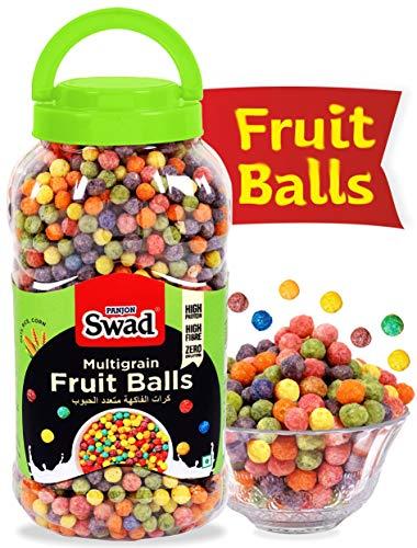 Swad Breakfast Cereal Multigrain Fruit Balls (Made With Oats Rice Corn Froot Loops Children Cereal) Jar 370 G