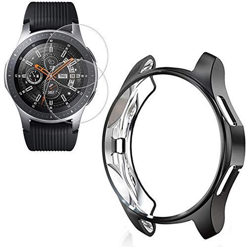 Miimall [1+2 Stück Kompatibel mit Samsung Galaxy Watch 46mm/Gear S3 Hülle mit Schutzfolie Panzerglas, Weiche TPU Kratzfest Stoßfest Schutzhülle Bumper Hülle für Galaxy Watch 46mm/Gear S3 - Schwarz