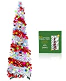 TURNMEON 5 Feet Tinsel Pre-lit Christmas Tree with 50 Color Lights, Pop up Christmas Tree Battery Operated 2 Modes Sequin Ball Ornaments Holiday Xmas Decoration Indoor Home Party Supplies(A-Silver)