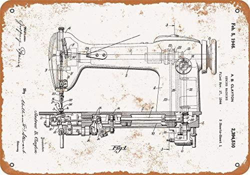 1946 - Cartel de metal con aspecto vintage, diseño de máquina de coser, 20,3 x 30,4