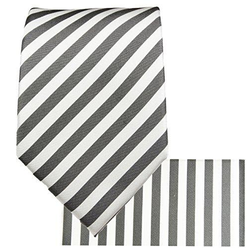 Blanc anthracite rayé ensemble de cravate 3 Pièces ( longueur 165cm )