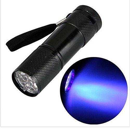 Gusspower Mini aluminio Linternas UV ultra violeta 9 LED lin