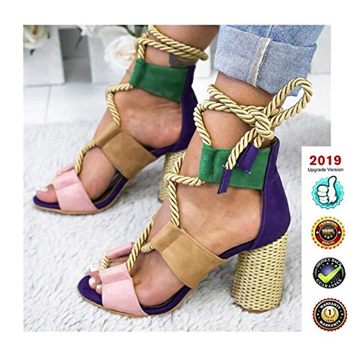 Sandals V-hak Espadrilles High, Wedges Peep Toe Plateau Dames zomer Elegant enkelriem gesp V-sandalen plat leer comfortabele casual schoenen, 8 cm hoge hak blauw