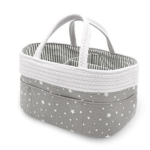 Chengruishun Baby-Wickeltasche, Aufbewahrungskorb für Windeln, Spielzeug für Mütter, tragbarer Halter für Neugeborene, Dusche, Geschenkkorb (grauweißer Stern)