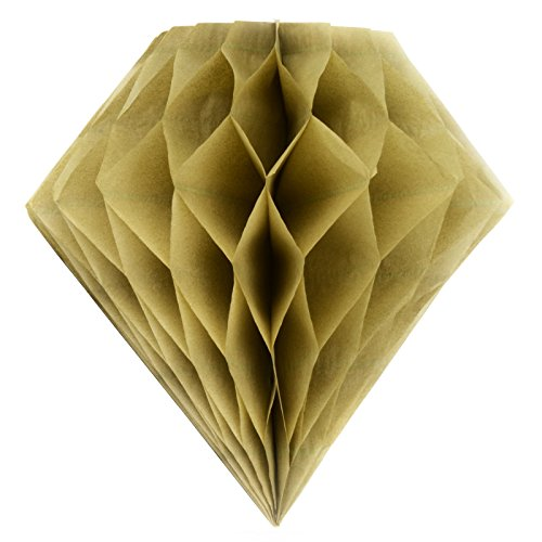 Simplydeko Wabenball Diamant | Deko Papierdiamant aus Seidenpapier | Honeycomb-Diamond | Papier-Diamand aus Wabenpapier | Vintage Gold