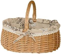 Baoblaze Willow Basket Handmade Picnic Camping Wicker Storage Food Bread Bins Woven Environmental Basket