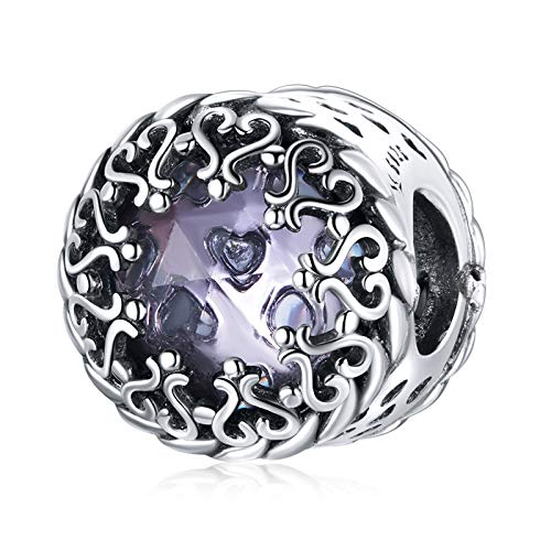 HMMJ S925 Sterling Silver Charms Beads, Patrón Púrpura DIY Hecho A Mano Misterioso Colgante Retro Compatible con Pandora Troll Chamilia Pulsera Europea Collares