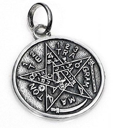 Colgante Tetragramatón medalla en plata 925. Diámetro 2.40 cm.Amuleto