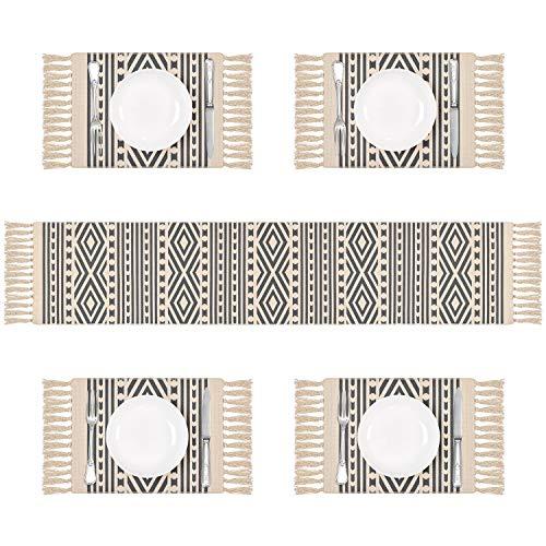 Pknoclan テーブルランナーセット ランチョンマット おしゃれ 北欧 シンプル タッセル付き おもてなし 食卓飾り 断熱 滑り止め 清潔しやすい 家庭用 レストラン パーティー 丸洗い グレー (1 テーブルランナー + 4プレースマ