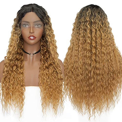 S-noilite Long Ombre Kinky Curly Synthetic Lace Front Wigs Black To Dark Blonde Heat Resistant Wavy Hair Middle Part U Lace Hairline Full Wig For Women Daily Cosplay Costume Party 28inch