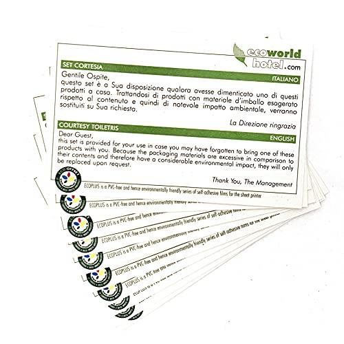 Cartoncini Set Cortesia EcoWorldHotel, ITA - ENG, Specifici per Hotel e B&B - 15 PZ -