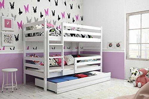 Interbeds Etagenbett Hochbett Eryk 160x80cm Farbe: WEIß, mit Lattenroste und Matratzen (weiß + weiße Schublade)