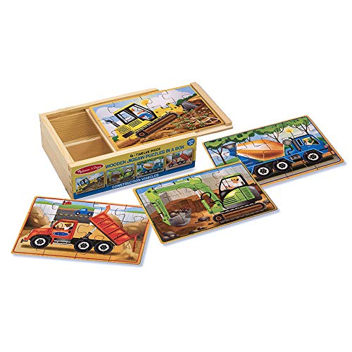 Melissa & Doug Construction Vehicles 4-in-1 Wooden Jigsaw 12-Piece Puzzles (Beautiful Original Artwork, 48 Pieces Total, Great Gift for Girls and Boys - Best for 3, 4, 5 Year Olds and Up)