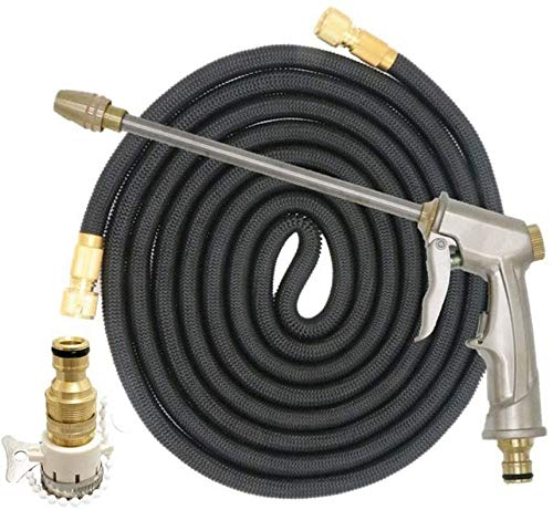 Hoses Water Pipe Garden Nozzle Spray Gun High Pressure Car Wash Water Gun Household 3 Times Telescopic Water Gun Nozzle Watering Lawn ZSMFCD (Color : Black, Size : 50ft)