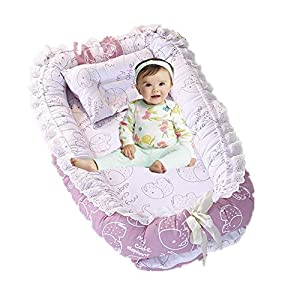 Brandream Baby Nest Bed Elephant Baby Lounger Portable Newborn Bassinet Crib for Travel/Bedroom Perfect for Co-Sleeping (Pink Elephant) 100% Cotton Breathable & Hypoallergenic