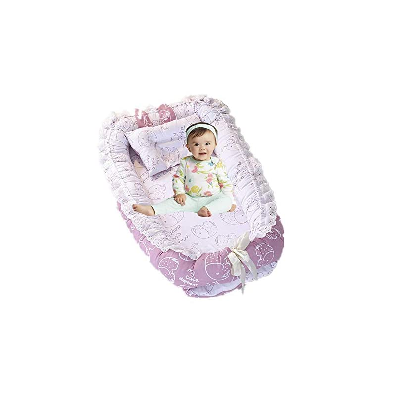 crib bedding and baby bedding brandream baby nest bed elephant baby lounger portable newborn bassinet crib for travel/bedroom perfect for co-sleeping (pink elephant) 100% cotton breathable & hypoallergenic