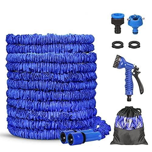 Tuyau D'arrosage, Tuyau D'arrosage Extensible, Tuyau Extensible Rétractable, Bleu Tuyau Flexible Tuyau D'eau avec Douchette à 8 Fonctions Elastique pour Irrigation et Nettoyage (100)