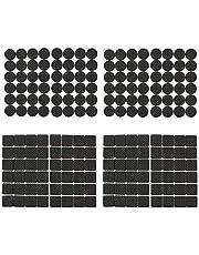 Dylan-EU 192 stuks meubelpads zwart antislip vloerbeschermers pads rubberen voetpads voor tafels stoelen banken kasten beschermen uw houten tegelvloer rond en vierkant