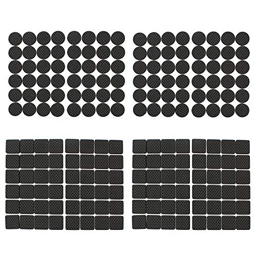 Dylan-EU 192 Pcs Furniture Pads Black Non-Slip Floor Protectors Pads Rubber Feet Pads for Tables Chairs Sofas Cabinets - Protect Your Wood Tile Floor - Round & Square
