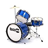 RockJam 3-teiliges Junior Drum Set mit Crash Cymbal, Drumsticks, Verstellbarer Thron und Zubehör - Blau