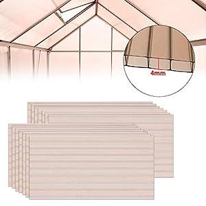 LZQ 14 unidades de placas de policarbonato de cámara hueca., Brown transparente