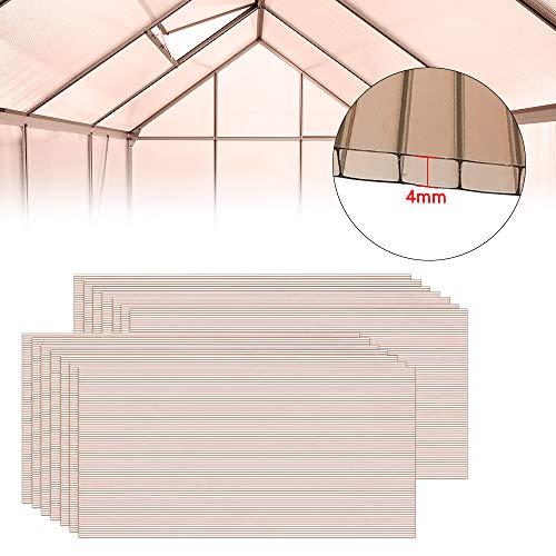 LZQ 14 Pcs Polycarbonat Hohlkammerstegplatten Doppelstegplatten Brown transparente 4 mm stark Gewächshaus Platten 60,5 x 121 cm Ersatzteile für Garten Treibhaus Ersatzplatten 10,25 m²