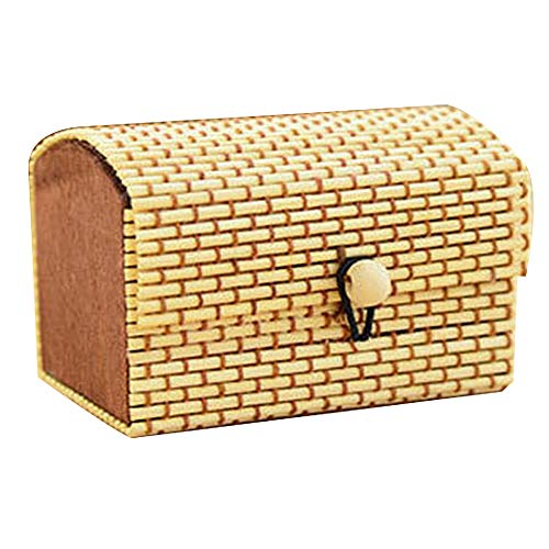 ENticerowts Schmuckschatulle, langlebiges Bambusholz, für Ring, Halskette, Ohrringe, Kleinteile, Aufbewahrungsbehälter, praktisch zu verwenden Holzfarbe