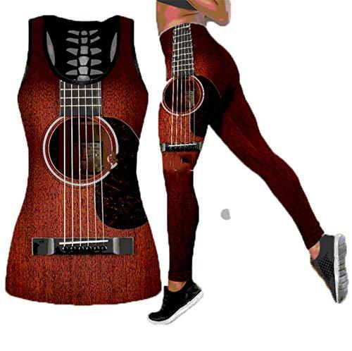 Guitarra 3D Imprimir Verano Dos Piezas Conjunto Mujeres Hollow out Tanque Alto Cintura Legging