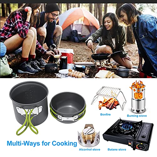 Camping Cookware Stove Set, Lightweight Camping Pots and Pans Mess Kit Backpacking Mini Stove Cup Cooking Utensils Knife Fork Spoon for Backpacking Outdoor Hiking Picnic 15Pcs (1-3 Person, Aluminum)