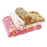 PET SPPTIES Super Soft Fleece Warm Pet Hund Katze Bett Decken, Decke für Welpen Paw Prints Pet Kissen Kleine Hund Katze Bett weiche warme Schlafen Matte,3 x Stück PS016(Pink+Beige+Coffee,80cmx60cm)