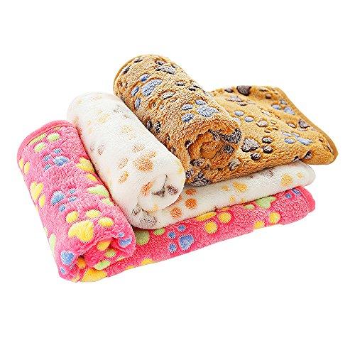 PET SPPTIES Pata pequeña impresión paño Grueso y Suave Manta Suave Estera del Animal doméstico 3 Piezas PS016(Pink+Beige+Coffee,80cmx60cm)